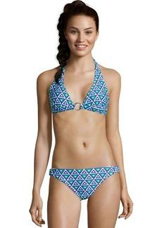 Shoshanna blue and white stretch nylon mediterranean print ring bikini bottom