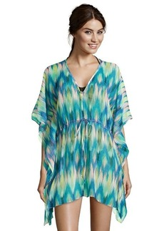 Shoshanna blue and yellow silk ikat print 'Rio Vista' chiffon caftan