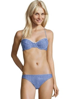 Shoshanna blue stretch nylon denim print 'Palm Canyon' bikini bottom