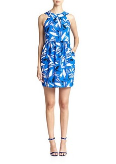 Shoshanna Brush Strokes Print Adrianna Dress