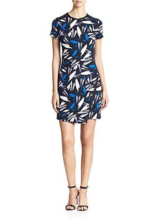 Shoshanna Brush Strokes Print Scuba Isla Dress