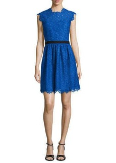 Shoshanna Cap-Sleeve Lace Fit-and-Flare Dress