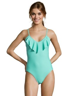 Shoshanna caribbean green stretch nylon ruffled one piece
