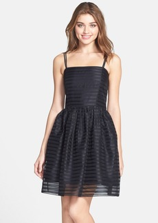 Shoshanna 'Chelsea' Ribbon Stripe Silk Organza Fit & Flare Dress