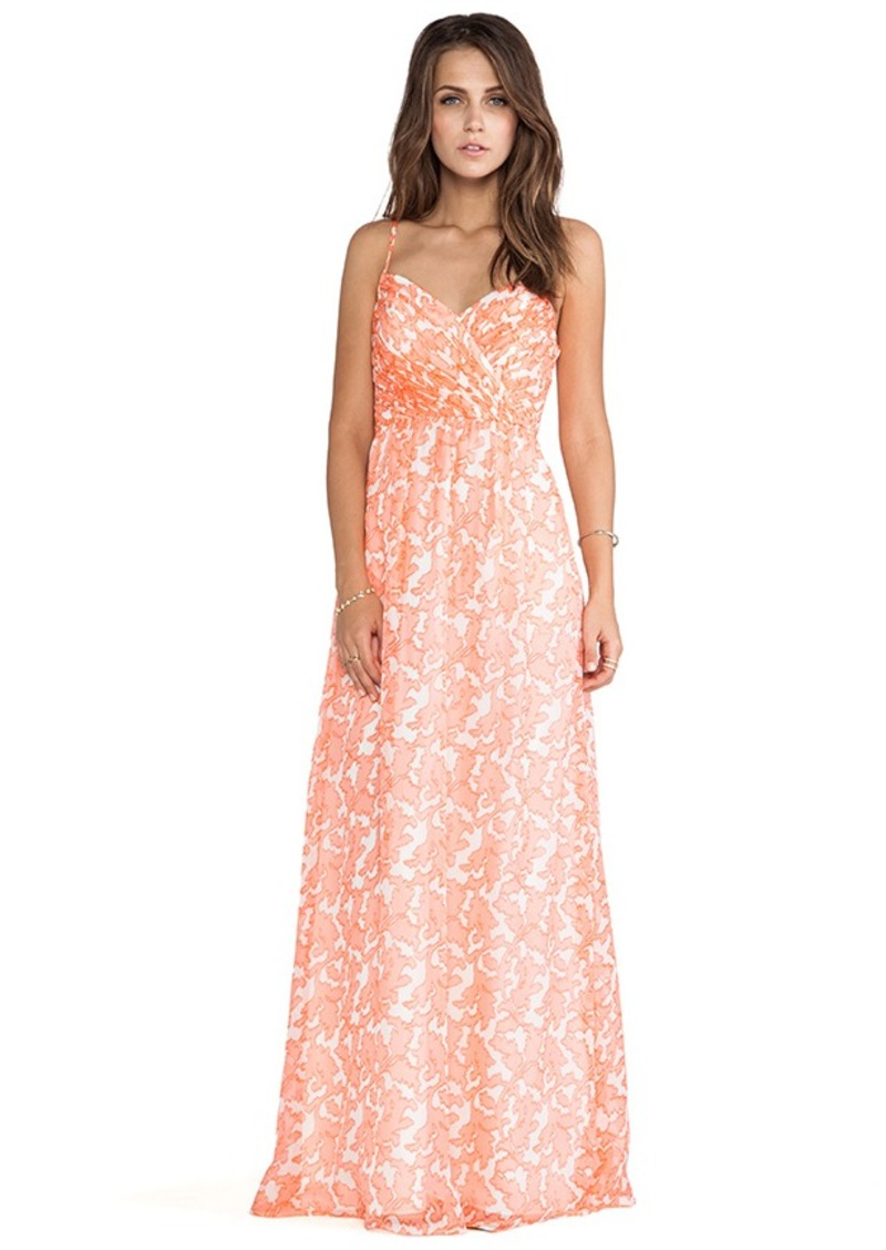 Shoshanna Coral Reef Chiffon Maxi Dress in Coral