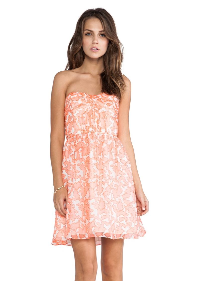 Shoshanna Coral Reef Chiffon Strapless Dress