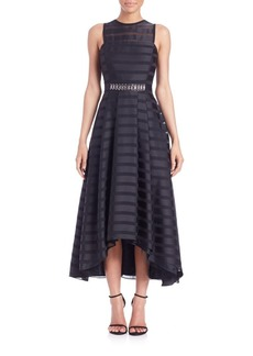 Shoshanna Coraline Sheer-Stripe Hi-Lo Dress