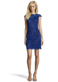 Shoshanna cosmic blue lace 'Olivia' cap sleeve dress