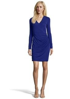 Shoshanna cosmic blue stretch jersey 'Clarice' wrap detail dress