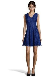 Shoshanna cosmic lace woven 'Cindy' v-neck sleeveless flared dress