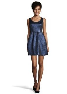Shoshanna cosmo blue metallic jacquard 'Goldie' fit and flare dress