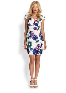 Shoshanna Cotton/Silk Floral-Print Dress