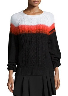 Shoshanna Crewneck Ombre Cable-Knit Sweater  Crewneck Ombre Cable-Knit Sweater