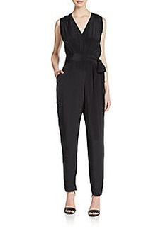 Shoshanna Draped Silk Crepe De Chine Jumpsuit