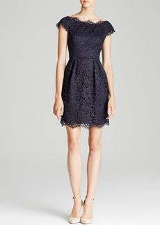 Shoshanna Dress - Ceclie Scallop Neck Cap Sleeve Lace Fit and Flare