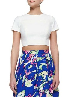 Shoshanna Edna Short-Sleeve Crop Top  Edna Short-Sleeve Crop Top