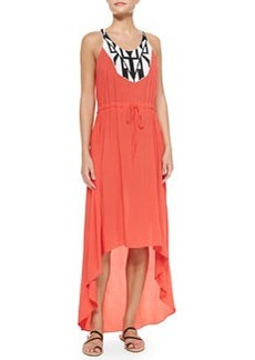 Shoshanna Embroidered High-Low Voile Dress