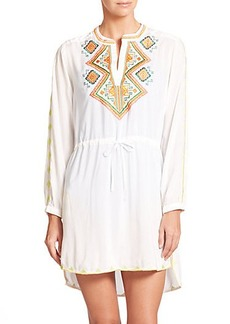 Shoshanna Embroidered Silk Swim Coverup