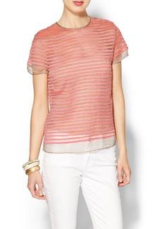 Shoshanna Embroidered Stripe Tee