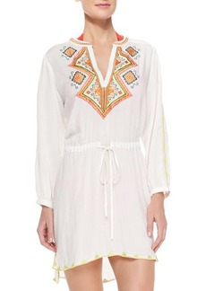 Shoshanna Embroidered Voile Drawstring Tunic