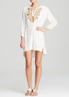 Shoshanna Embroidery Drawstring Swim Cover Up Tunic