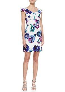 Shoshanna Evan Cap-Sleeve Floral-Print Dress, Multicolor