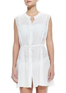 Shoshanna Eyelet-Panel Drawstring Coverup Dress