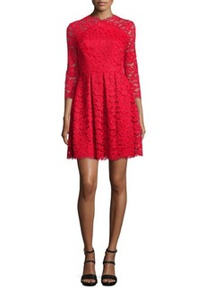 Shoshanna Farrah 3/4-Sleeve Lace Mini Dress