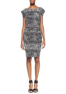 Shoshanna Faye Short-Sleeve Printed Dress, Black/White