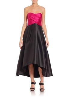 Shoshanna Gazar Dawn Colorblock Hi-Lo Gown