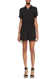 Shoshanna Giovanna Short Sleeve Button-Down Romper, Black