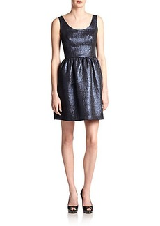 Shoshanna Goldie Metallic Jacquard Dress
