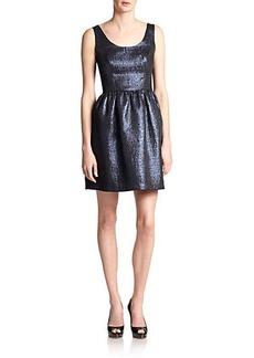 Shoshanna Goldie Metallic Jacquard Dress