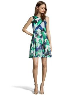 Shoshanna green and blue rose print chiffon 'Randi' fit and flare dress