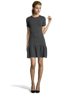 Shoshanna grey and black stretch knit 'Jenny' houndstooth sweater dress