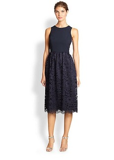 Shoshanna Harlow Lace-Skirt Midi Dress