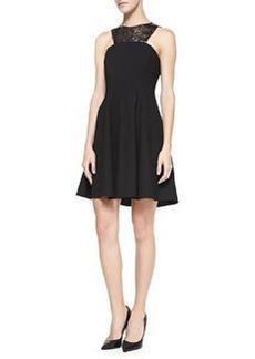 Shoshanna Hayden Sleeveless Sequin Yoke Dress