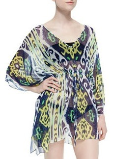 Shoshanna Ikat-Print Drawstring Silk Coverup