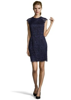 Shoshanna indigo lace 'Mariah' high neck sheath dress