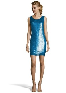 Shoshanna indigo sequined silk chiffon 'Leandra' mini shift dress