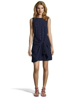 Shoshanna ink blue beaded crepe 'Maureen' draped dress