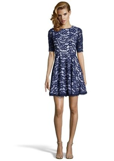 Shoshanna ink floral lace woven 'Carmen' 3/4 sleeve flared dress