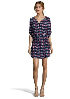 Shoshanna ink printed jersey knit 'Reese' drawstring dress
