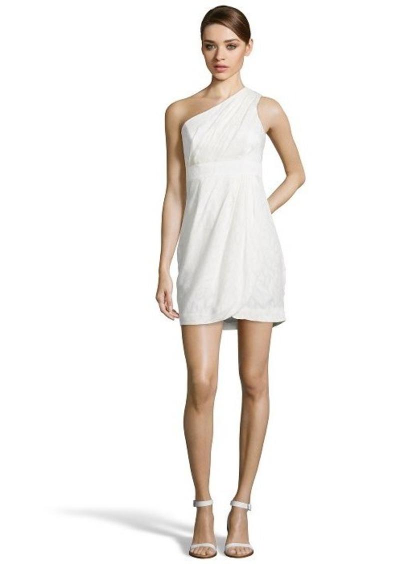 Shoshanna ivory leaf pattern 'Melanee' one shoulder grecian dress