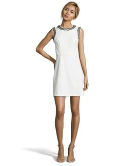 Shoshanna ivory stretch crepe 'Abbie' beaded fit and flare dress