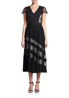 Shoshanna Kaylee Pleated Crepe Dress