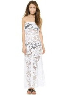 Shoshanna Lace Strapless Maxi Dress