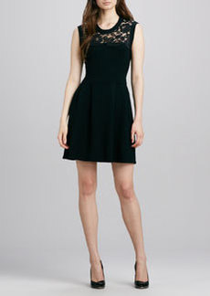 Shoshanna Lace-Top Knit Dress