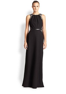 Shoshanna Lace-Trimmed Stretch Crepe Gown
