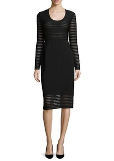 Shoshanna Long-Sleeve Mesh-Striped Dress  Long-Sleeve Mesh-Striped Dress